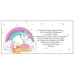 Invitación unicornio arcoíris, personalizado para cumpleaños