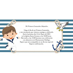 Invitación Comunión Niño Marinero Personalizada