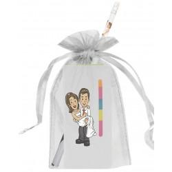 Libreta post it boda con adhesivo, lápiz y bolsa organza