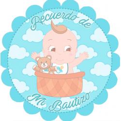 Adhesivo bautizo bebé niño