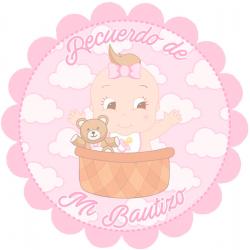 Adhesivo bautizo niña