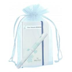 Libreta bautizo personalizada con bolígrafo a juego