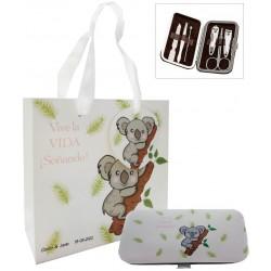 Set de manicura koala personalizado con bolsa para boda