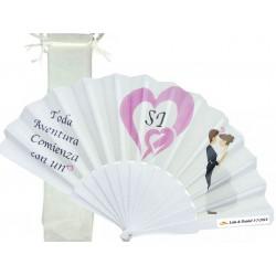 Abanico elegante para bodas personalizado con bolsa de...