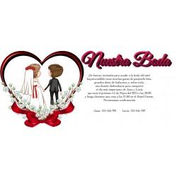 Invitación Boda Corazón con Novios Personalizada