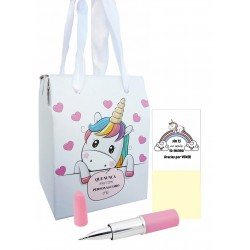 Libreta con imán y bolígrafo en caja unicornio