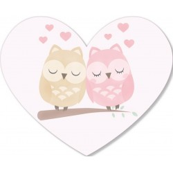 Adhesivo corazón búhos
