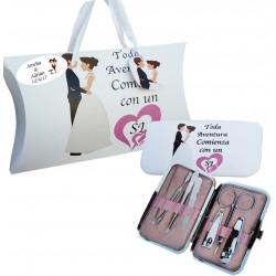 Set de manicura boda personalizado con caja y frase