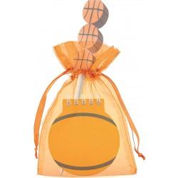 Libreta de baloncesto con lápiz a juego en bolsa de organza