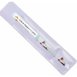 Bolígrafo con funda blanca personalizado para boda