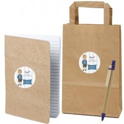 Libreta de cartón reciclada con bolígrafo a juego y bolsa