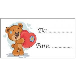 Tarjeta Adhesiva para Regalos Osito Corazón para Poner...