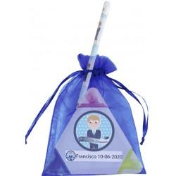 Marcador personalizado comunión niño con lápiz y bolsa de organza