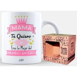 Taza con Frase para Mamá en color Blanca Presentada en Caja