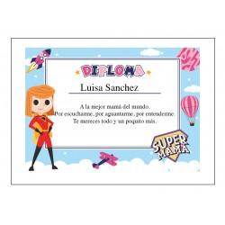 Diploma Super Mamá Personalizado con Nombre y Dedicatoria