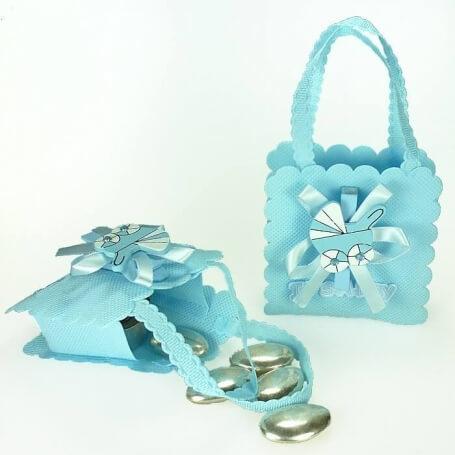 Bolsa para Bautizo Decorada Azul Bolsas Envoltorios Originales