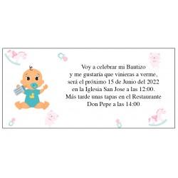Invitación Bautizo Personalizada Niño Bebé Alex