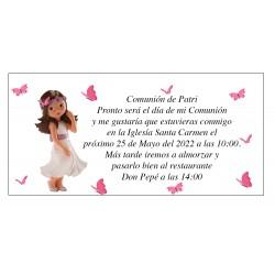 Invitación Comunión Niña Patri con Mariposas