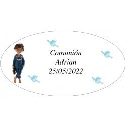 Adhesivo Ovalado Primera Comunión Niño Adrian