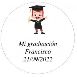 Adhesivo 5 cm Personalizado Niño Graduación