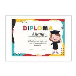 Diploma Graduación Niña Personalizado