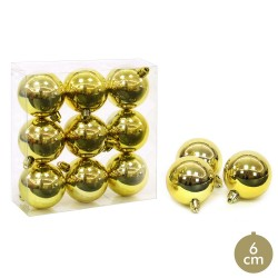 S/9 bola brillo oro decoración navidad 6 x 6 x 6 cm