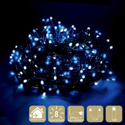 100 luces led 8 funciones blanco-azul