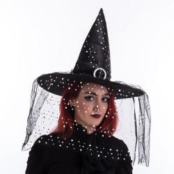 Sombrero de bruja lunares negro 45 x 45 x 36 cm