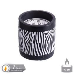 Vela base cemento perfumada zebra 8 x 8 cm