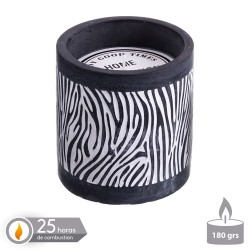 Vela base cemento perfumada zebra 10 x 10 cm