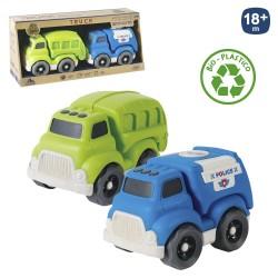 S/2 camión obras públicas bio plástico 18 x 11 x 13 cm