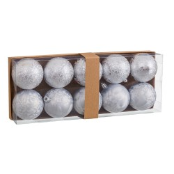 S/10 bolas aguas plástico plata 6 x 6 x 6 cm