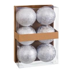 S/6 bolas aguas plástico plata 8 x 8 x 8 cm