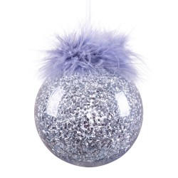 Bola con pluma plástico plata 8 x 8 x 8 cm