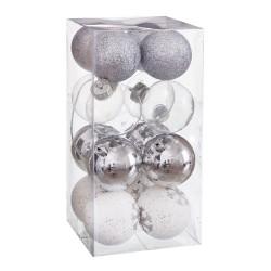 S/16 bolas decorada foam plata 6 x 6 x 6 cm