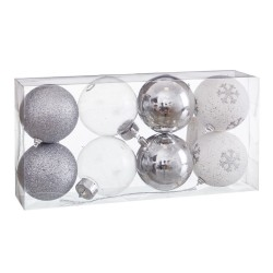 S/8 bolas decorada foam plata 8 x 8 x 8 cm