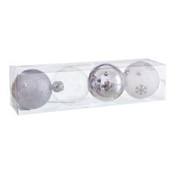 S/4 bolas decorada foam plata 10 x 10 x 10 cm