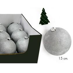 Bola glitter plata c/disp 15 x 15 x 15 cm