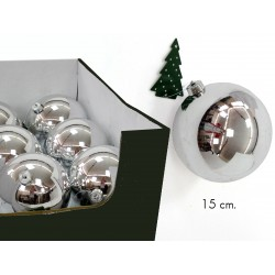 Bola lisa plata c/display 15 x 15 x 15 cm
