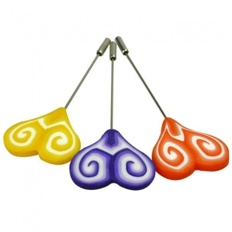 Alfileres Corazón Color: naranja, morado, amarillo, rosa, rojo
