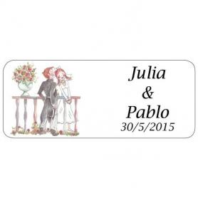 Pegatina para Regalos de Boda Romeo y Julieta