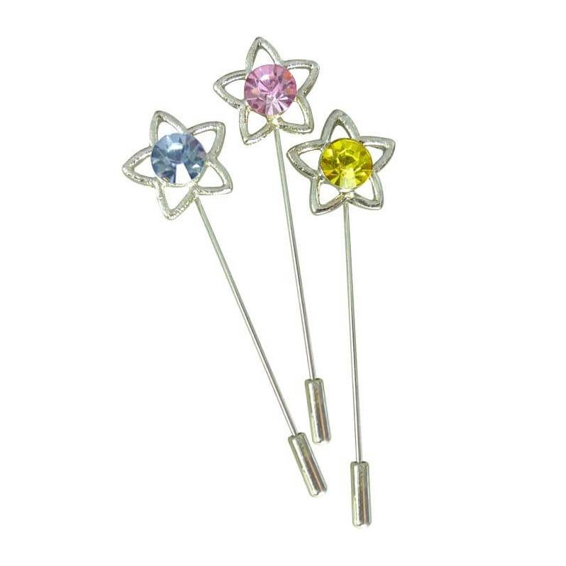 Alfileres de Estrella Color: amarillo, azul, rosa Alfileres