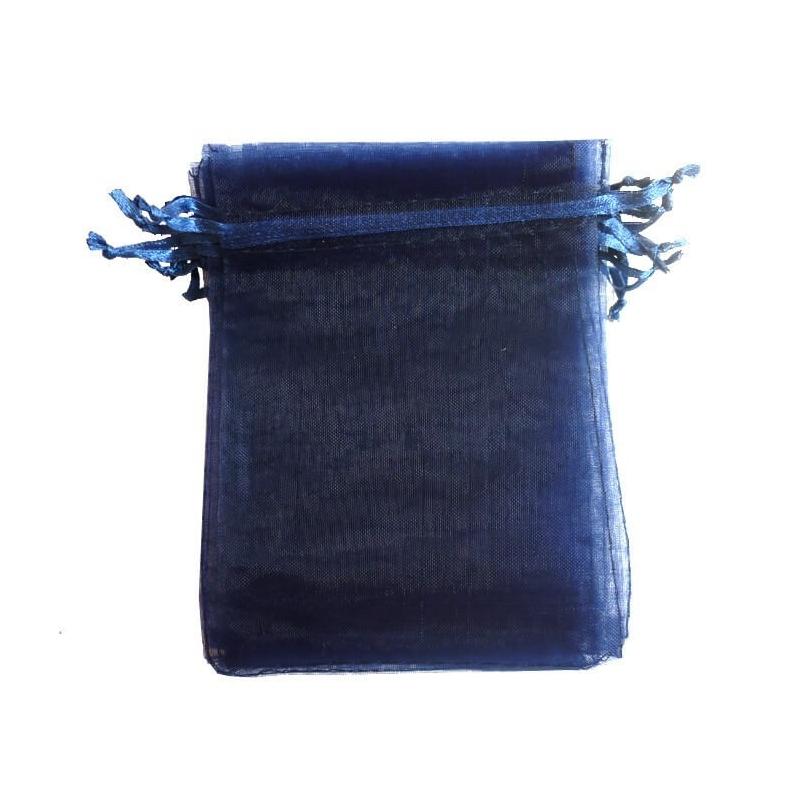 Bolsa de organza azul marino 9 x 15