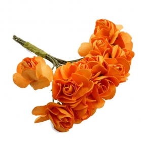 Flor Naranja Pequeña  Flores de Papel y Broches para Bodas