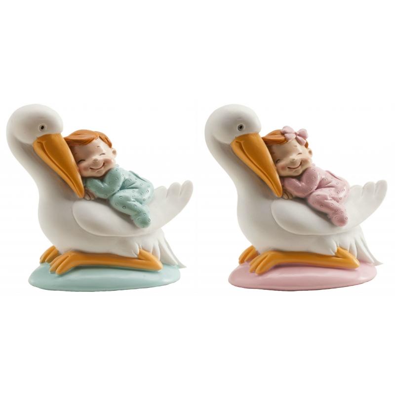 Figuras de Cigüeñas con Bebé Figuras tarta Detalles Bautizo