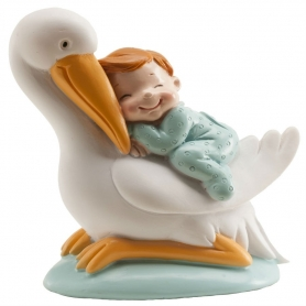 Stork figures with baby