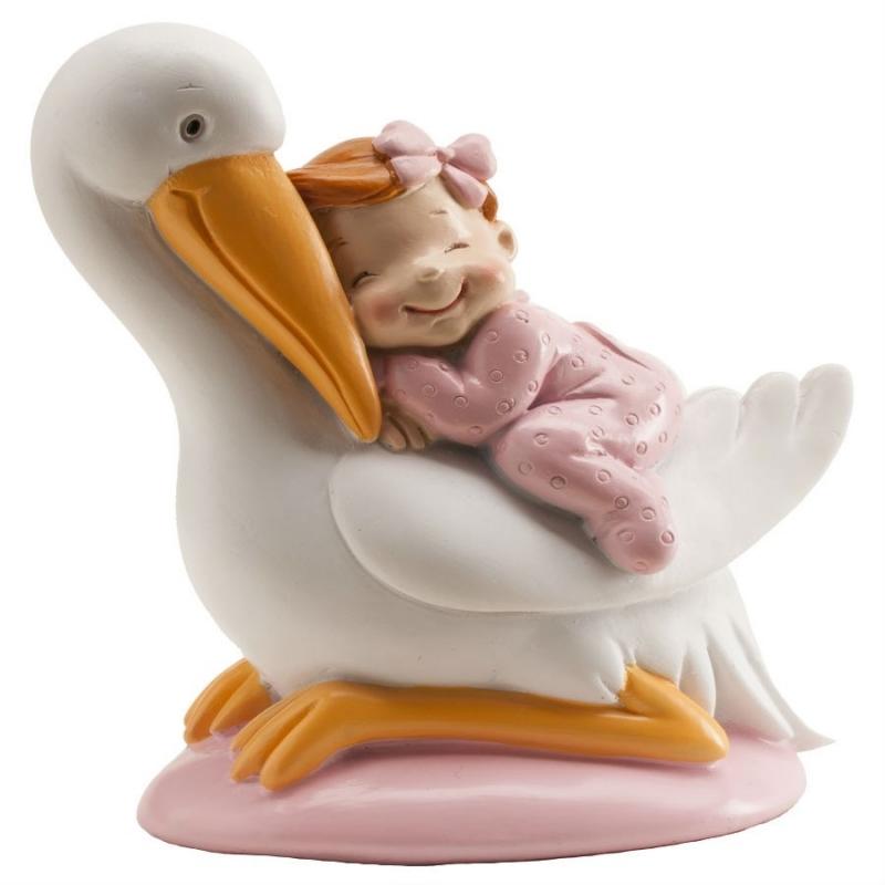 Figuras de Cigüeñas con Bebé Color: azul, rosa Figuras Tarta