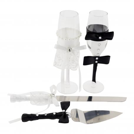 Set de Brindis para Boda Cuchillos, Palas y Copas Complementos