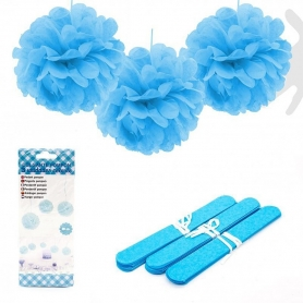 Pompones para Decorar Color: rosa, azul Banderines y Guirnaldas