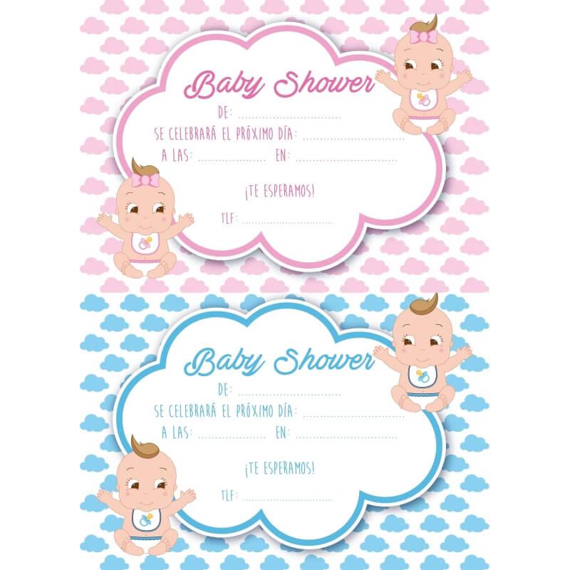 Invitación Baby Shower Gemelos Invitaciones de Bautizo